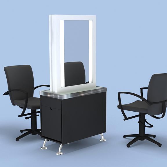 Art Deco Styling Station Mirror Illumination Salon