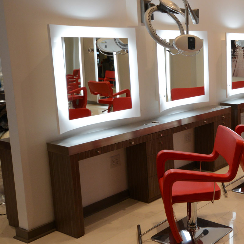 Curve salon mirror salon mirror salon furniture for Salon pictures for wall